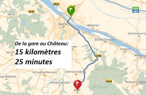 plan accès château brézé en train